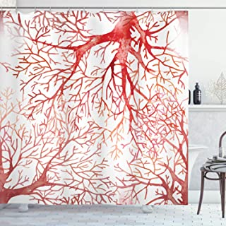 Ambesonne Coral Shower Curtain, Monochrome Watercolor Image of Leafless Fall Autumn Tree Branches Peaceful Print, Cloth Fabric Bathroom Decor Set with Hooks, 75
