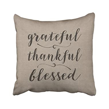 Emvency Decorative Throw Pillow Cover Square Size 18x18 Inches Grateful Thankful Blessed Rustic Linen Pillowcase with Hidden Zipper Decor Fashion Cushion Gift for Home Sofa Bedroom Couch Car
