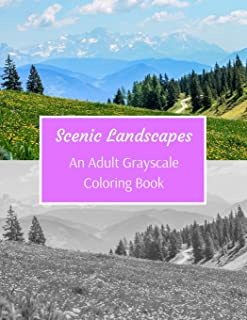 Scenic Landscapes: An Adult Grayscale Coloring Book: 53 Beautiful Images For Colorists Of All Skills Level