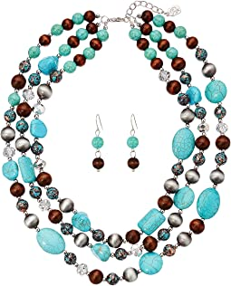 M&F Western - Turquoise, Wood and Crystal Necklace/Earrings Set