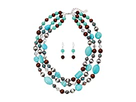 Turquoise, Wood and Crystal Necklace/Earrings Set