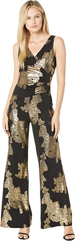 Ity Rose Foil Printed Sleeveless Jumpsuit w/ Surplus Detail & Asymmetrical Bodice