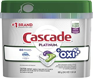 Cascade Platinum ActionPacs + Oxi, Dishwasher Detergent, Fresh Scent, 44 Count (Packaging May Vary)