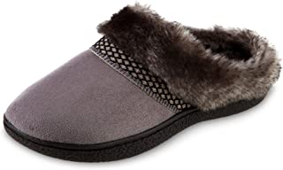 isotoner Women's Recycled Microsuede Mallory Hoodback Slipper, Ash, 8.5-9