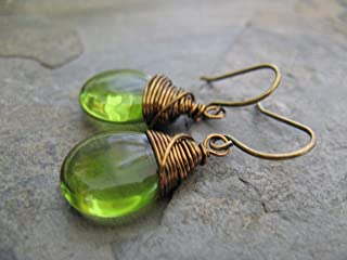 Olive Green Czech Glass Drop Wire Wrapped Mixed Metals Earrings Boho Artisan