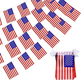 American USA Flag Banner - 100 Ft Pennant String Flag 76 Pcs Small American Flags for Grand Opening, World Cup, Carnival, Sports Events, Festival, 4th of July Independence Day Decoration (8.2