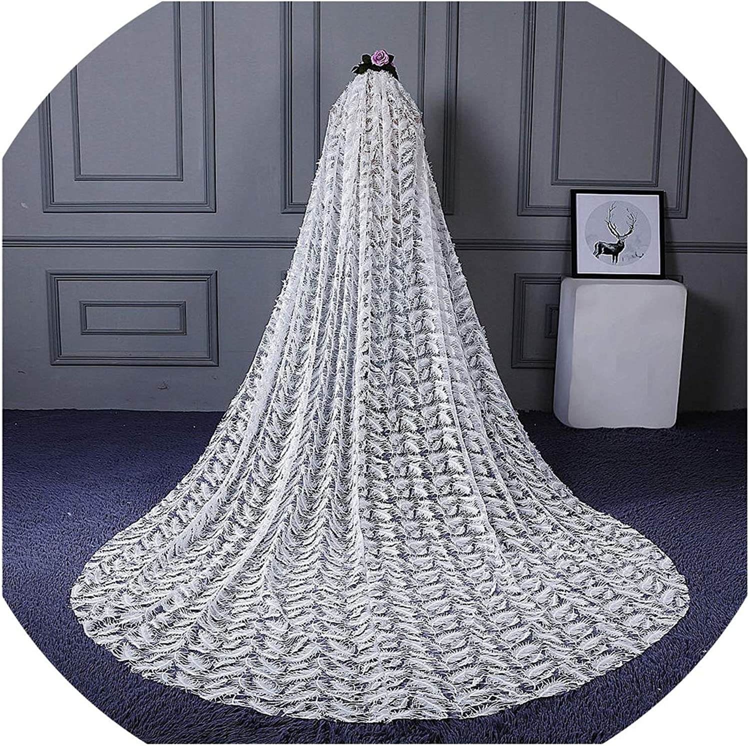 RSV123 Real Pictures Yiaibridal Bridal Accessories Feather Pattern Long Ivory Bridal Veil Lace,Ivory