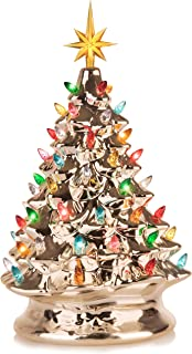 RJ Legend Festive Ceramic Christmas Tree – Pre-lit Winter Tree Décor with Multicolor Lights – Mini Decorated Christmas Tree for Home – Vintage Holiday Lights – Champagne Gold Color
