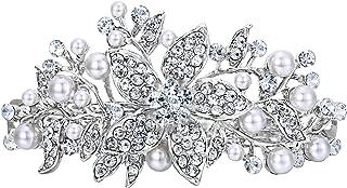Austrian Crystal Bridal Hibiscus Cream Simulated Pearl Hair Clip Barrette Silver-Tone
