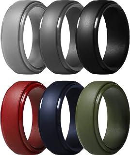 خاتم من السيليكون للرجال من ثاندرفيت، شريط مطاطي للزفاف بحافة دائرية، عرض 10 ملم، سمك 2.5 ملم