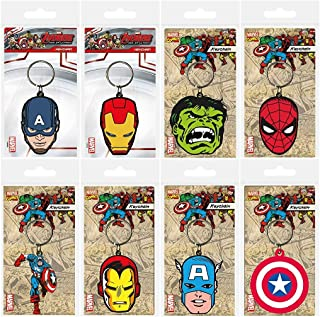 Toys & Gamers Set of 8 x Super Hero / Star Wars / DC Comics / Avengers / Minion / Episode 7 Key Rings Keychains Perfect Party Bag Fillers (Super Heros)