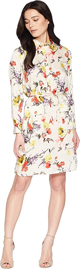 Petite Floral Twill Utility Dress
