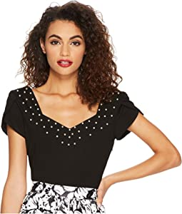 Nora Short Sleeve Top w/ Pearls