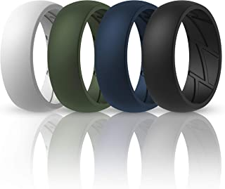 ThunderFit Silicone Wedding Rings for Men Breathable Airflow Inner Grooves - Breathable Edition Rubber Engagement Bands - ...