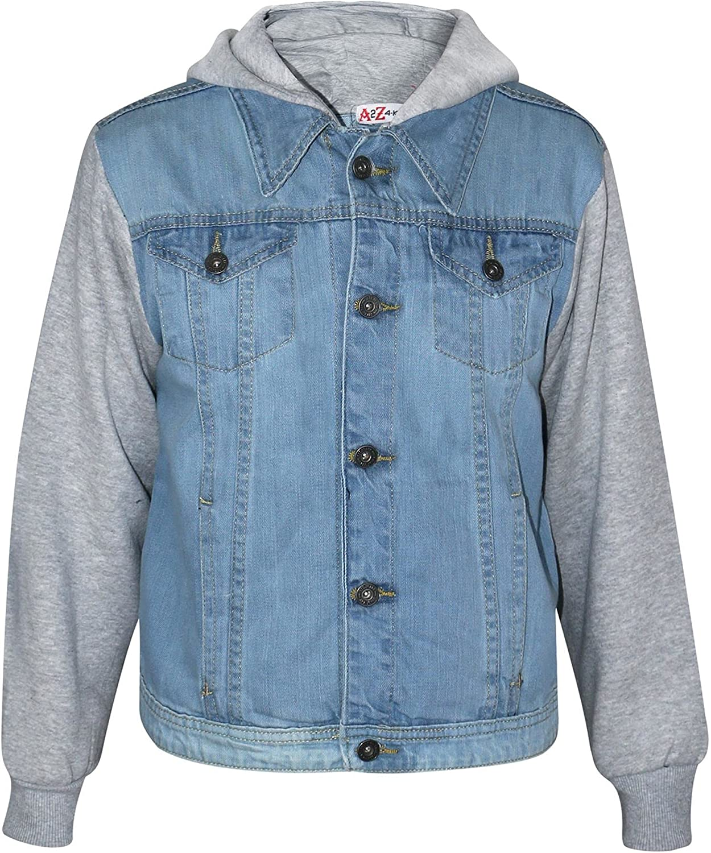 Kids Boys Denim Light Blue Jacket Fleece Sleeves & Hood Fashion Jacket Coat 2-13