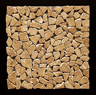 Noce Travertine Tumbled Random Pebble Mosaic Tile