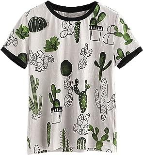 Women's Summer Short Sleeve Cute Cactus Print Tunic T-Shirt Tops