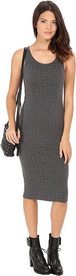 Castel Cable Pattern Knit Jacquard Midi Dress