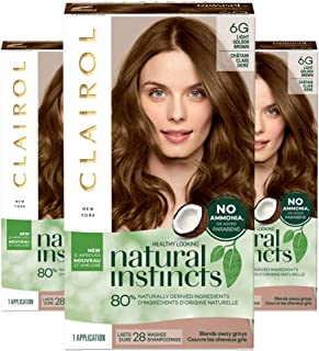 Clairol Natural Instincts Semi-Permanent, 6G Light Golden Brown, Toasted Almond, Pack of 3