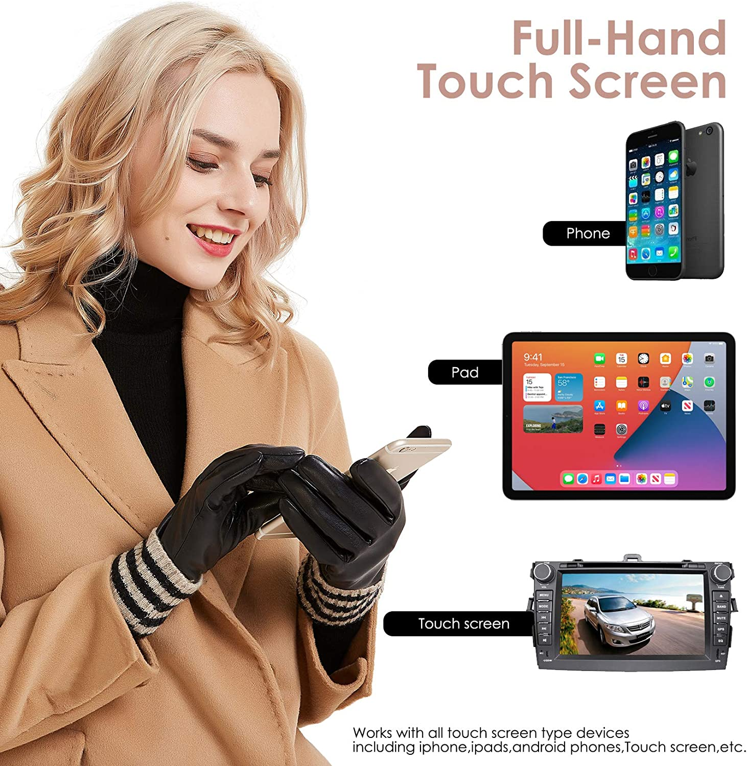 Womens Winter Leather Touchscreen Texting Warm Driving Gloves by Dsane (7 M, Coffee)