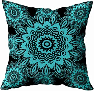 EMMTEEY Home Decor Throw Pillowcase for Sofa Cushion Cover,teal blue and black doily lace snowflake mandala Decorative Square Accent Zippered and Double Sided Printing Pillow Case Covers 20X20Inch