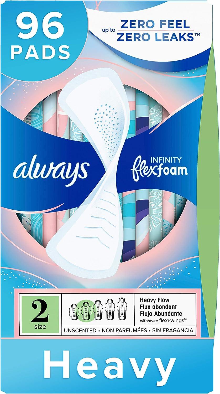 Always Infinity Feminine Pads for Women 2 In Spasm price stock Count 96 Size Heavy