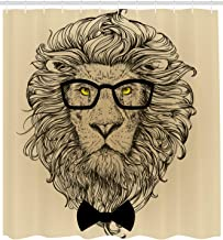 Ambesonne Indie Shower Curtain, Lion Character Portrait with Glasses and Bowtie Hipster Smart Cool Dandy, Cloth Fabric Bathroom Decor Set with Hooks, 105