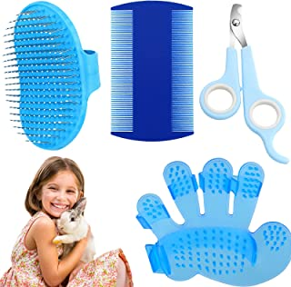 4 Pieces Rabbit Grooming Kit Includes Pet Shampoo Bath Brush, Double-Sided Pet Comb, Massage Brush and Nail Cutters for Ra...