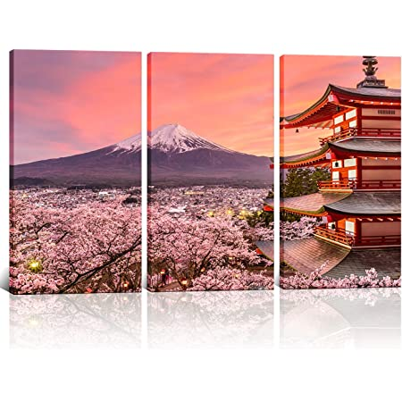 Canvas Art Mountain Fuji Japan Painting Fuji Canvas Wall Art Mountain Fuji Photo Mountain Fuji Wall Art Lake Kawaguchi Oishi Park Kochia