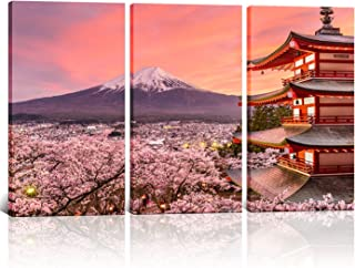 3 Panels Landscape Wall Decor Japan Chureito Pagoda and Mt. Fuji in The Spring with Cherry Blossoms Scenery Painting Framed Wall Art for Living Room Ready to Hang 16