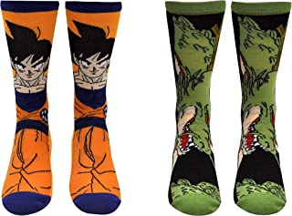 Dragon Ball Z Super Socks Gifts (2 Pair) - (1 Size) DBZS Merchandise Goku Shenron Crew Socks Women & Men's