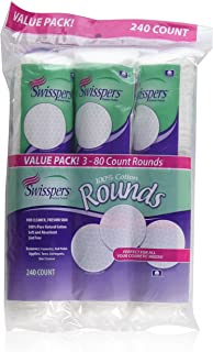 Swisspers Cotton Rounds 80 Count 100% Cotton (3 Pack)