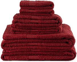 تتضمن مجموعة بروفينس الفاخرة من جيه آند إم هوم فاشونز 2 مناشف يد للاستحمام و2 مناشف للحمام، أحمر بابريكا 6 قطع