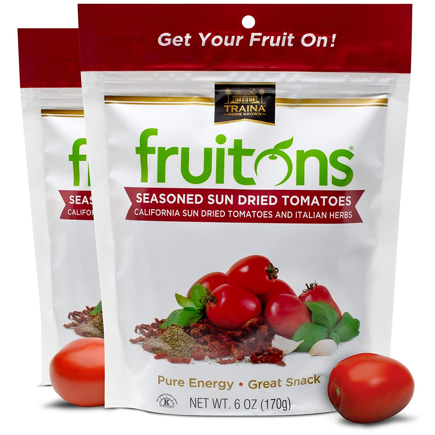 Traina Home Grown Fruitons Seasoned California Sun Dried Tomatoes and Italian Herbs - No Added Sugar, Non GMO, Gluten Free, Kosher Certified, Tomatoes are a low calorie food, 6-OZ Pouch (Pack of 2)