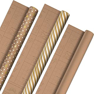Hallmark Holiday Wrapping Paper with DIY Bow Templates on Reverse (3 Rolls: 90 sq. ft. TTL) Kraft and Gold Christmas Trees, Stripes, Solid Kraft for Christmas, Hanukkah, Weddings, Birthdays