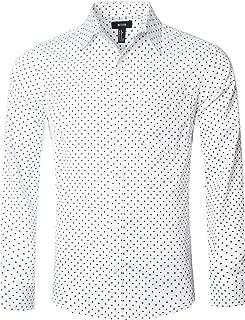 NUTEXROL Men's Casual Cotton Polka Dots Long Sleeve Dress Shirts