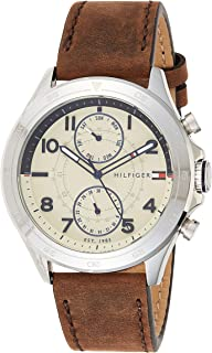 Tommy Hilfiger Men's Analogue Quartz Watch with Leather Calfskin Strap 1791344