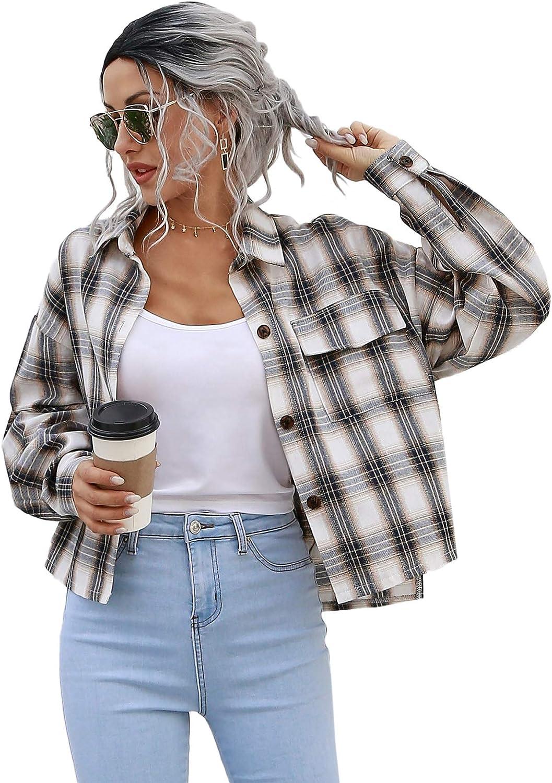Verdusa Women's Drop Shoulder Button Front Plaid Overshirt Short Jacket