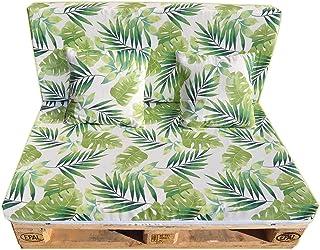 Gbla Colchon y Respaldo de Espuma para Sofá de Palet Enfundado en Tejido - Ideal para Jardín, Terraza, Patio,Salón y Balcón (Verde)