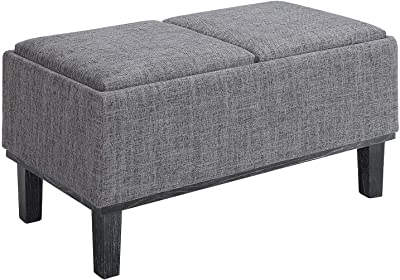 Convenience Concepts Designs4Comfort Brentwood Storage Ottoman, Gray Fabric