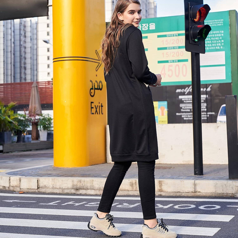 Women's Casual Zip up Hoodies Long Tunic Sweatshirts Jackets Fashion Plus Size Hoodie with Pockets