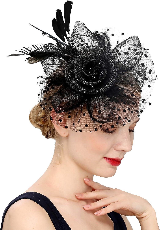Fascinators Hat for Women Tea Party Headband Kentucky Derby Wedding Flower Cocktail Mesh Feathers Hair Clip