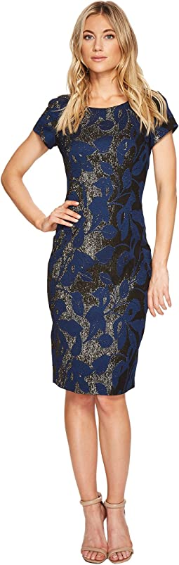 Adrianna Papell - Metallic Jacquard Sheath Dress