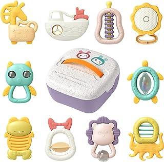 TUMAMA - Juego de 10 juguetes de sonajero para bebés con caja de almacenamiento, juguetes educativos para bebés recién nacidos 3, 6, 9, 12 meses para niñas y niños