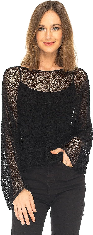 SHU-SHI Womens Sheer Blouse Top Knit Lightweight Shrug Sweater Poncho