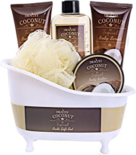 Spa Gift Basket Coconut Fragrance, Luxurious 5pc Gift Baskets for Women with Bathtub Holder - #1 Best Christmas Gift for Mom Includes Body Scrub, Body Lotion, Shower Gel, Body Butter & More