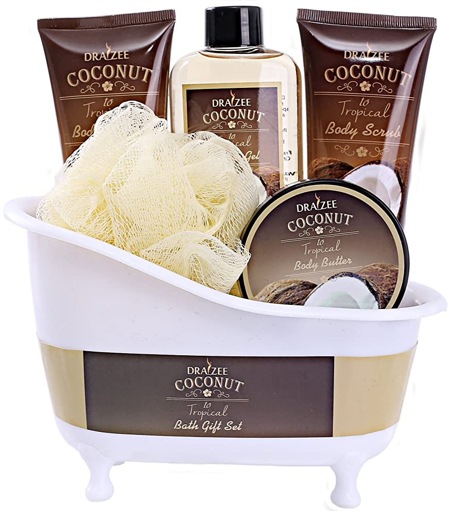 Spa Gift Basket Coconut Fragrance, Luxurious 5pc Gift Baskets for Women with Bathtub Holder - #1 Best Gift for Mom on Mothers day Includes Body Scrub, Body Lotion, Shower Gel, Body Butter & More