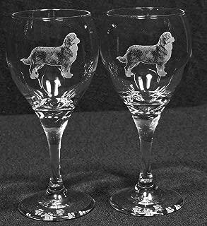 Muddy Creek Reflection Bernese Mountain Dog Laser Etched Wine Glass Set (2, TDW)