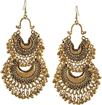Tiaraz Tribal Collection Crystal & Oxidized Silver Gold Plated and Cubic Zirconia Earrings for Women's & Girl's, Gold