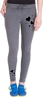 American-Elm Women's Slim Fit Dark Melange Printed Jogger for Workout